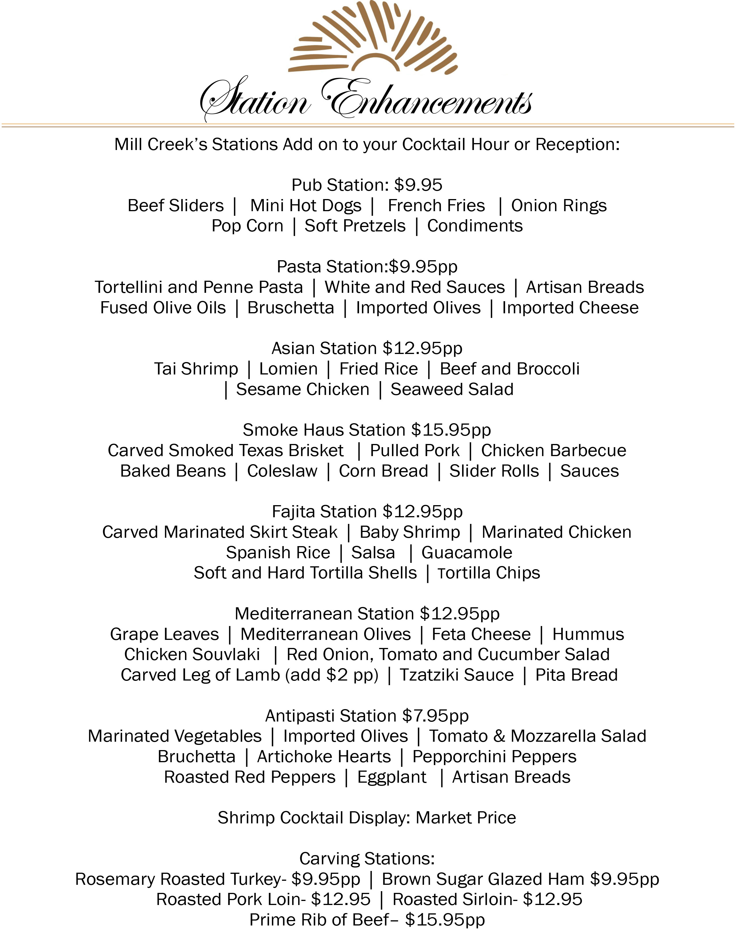 Catering Menu Options | Hopewell Junction & Beacon, NY | Mill Creek
